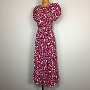 Vintage 80s Does 40s Pleated Floral Flowy Maxi